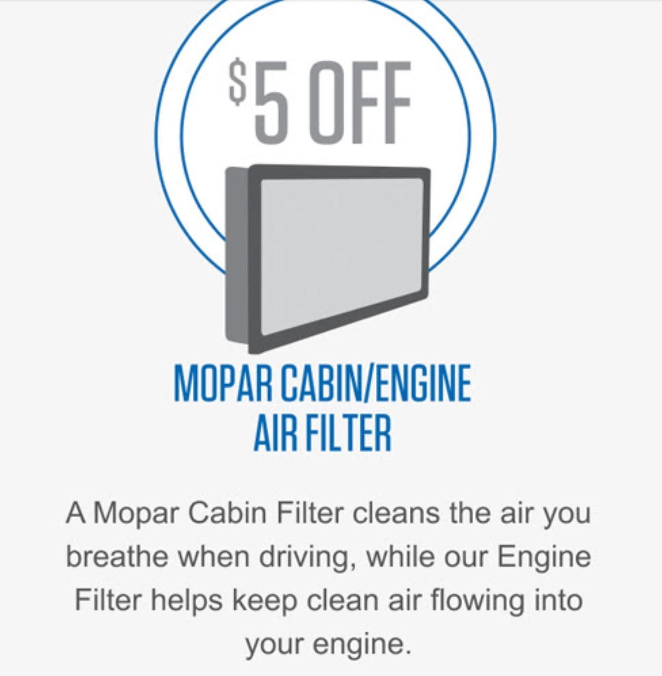 mopar cabin air filter deals